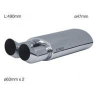 Silencieux double DTM 2x63mm